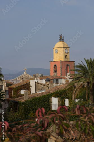 Plagát Vertical image of St. Tropez, France with church tower