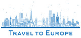 Outline Famous Landmarks in Europe. London, Paris, Moscow, Rome, Madrid. - 180814846