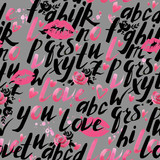 Love. Hand written alphabet. Romantic poster. Love background