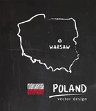 Map of Poland, Chalk sketch vector illustration