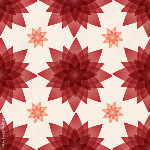Seamless pattern background with artificial burgundy flowers made from plastic. - 180818283