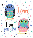 Romantic card with two cute owls. Love hoo you are