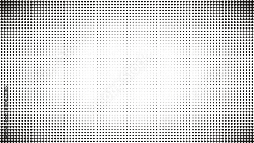 Abstract black and white dots background. Comic pop art style. Light effect. Gradient background with dots. © zuckerman