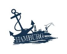 Anchor Lighthouse Ship And Crane Icons On Brush Stroke Calligraphy Inscription Hamburg City Name Text Sticker