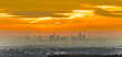 view to skyline of Frankfurt in sunrise