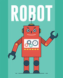 Red Robot Illustration For Tshirt And Other Uses Wall Sticker
