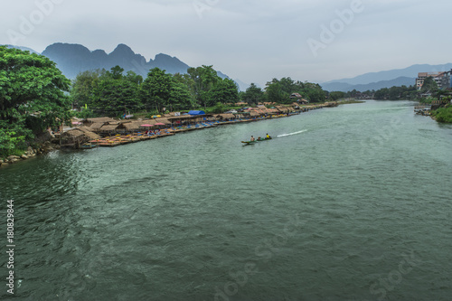 Fotobehang Khaki Beautiful Vangvieng view, laos