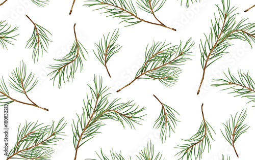 Seamless pattern of Pine Christmas spruce, new year tree natural branch, green leaves, hand drawn botanical print. Vector, seasonal wallpaper, winter bacgkround, textile fabric, texture, paper design - 180832213