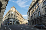 Street with classical buildings in Brussels, Belgium