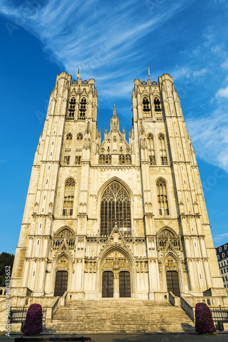 Foto op Canvas Brussel Facade of the Cathedral of Brussels in Belgium