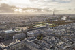 Cityscape of Paris, France. Aerial view. Louvre museum and Eiffel tower