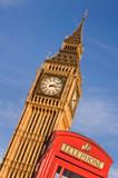 Red telephone box and Big Ben,  London, UK - 180842248