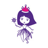 princess fairy with crown and magic wand on color sections silhouette