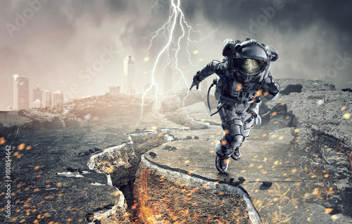 Spaceman running fast. Mixed media Poster