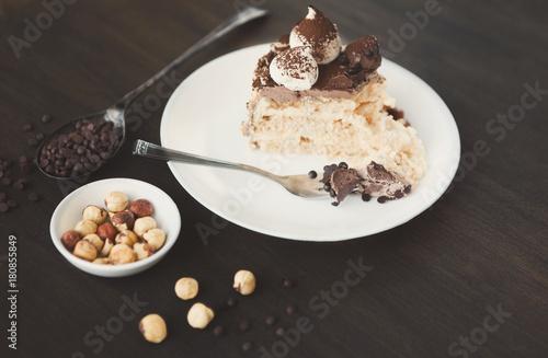 Foto op Plexiglas Kiev Meringue cake with hazelnuts and buttercream