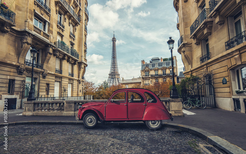 Avenue de Camoens in Paris with red retro car