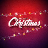 Vector Merry Christmas Illustration with 3d Typography Design and Holiday Light Garland on Shiny Red Background. Happy New Year Design.