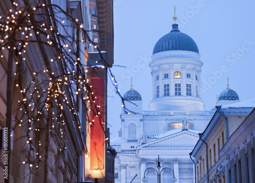 Lutheran Cathedral and Christmas decorations Poster