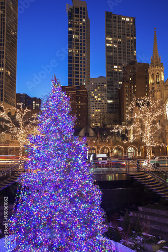 Christmass Tree in Chicago Poster