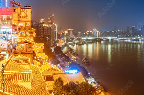 Foto op Aluminium Scandinavië Chongqing China, Bridge over the Yangtze River view from Hongyad