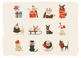 Hand drawn vector abstract fun Merry Christmas time cartoon icons illustrations collection set with mammal happy dogs in holidays xmas tree costumes isolated on white background - 180861809
