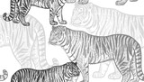Seamless pattern with tiger