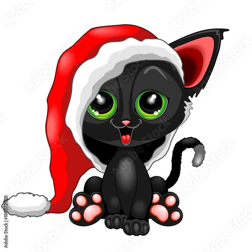 Tuinposter Draw Cute Chrsitmas Kitty with Big Santa Claus Beanie