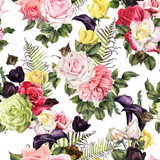 Seamless floral pattern with roses, watercolor. - 180876403