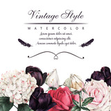 Greeting card with roses, watercolor, can be used as invitation card for wedding, birthday and other holiday and  summer background. - 180877211