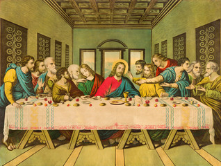 BRATISLAVA, SLOVAKIA, NOVEMBER - 11, 2017: Typical catholic image The Last Supper printed in Germany from end of 19. cent.