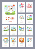 Calendar 2018 year with sheep - 180890481