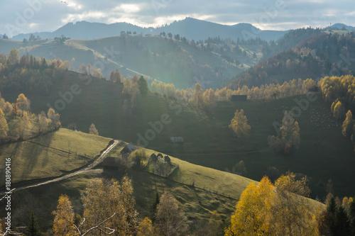 Fotobehang Bleke violet Autumn in Moeciu village, Transylvania, Romania