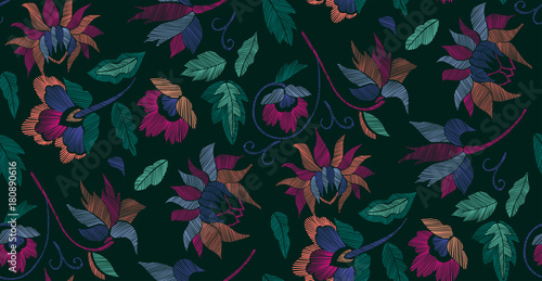 Floral seamless background pattern with fantasy flowers and leaves Line art. Embroidery flowers. Vector illustration.. - 180890616