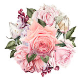 Greeting card with roses, watercolor, can be used as invitation card for wedding, birthday and other holiday and  summer background. - 180890860