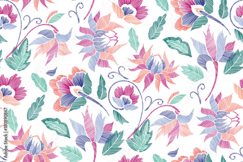 Floral seamless background pattern with fantasy flowers and leaves Line art. Embroidery flowers. Vector illustration.. - 180890867