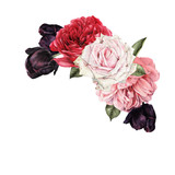 Bouquet of roses, watercolor, can be used as greeting card, invitation card for wedding, birthday and other holiday and  summer background. - 180891203