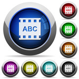 Movie subtitle round glossy buttons