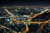 bangkok skyline at night with roads