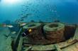 tires Ship Wreck in bali indonesia indian ocean