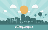 Albuquerque skyline - ribbon banner - New Mexico - 180894845