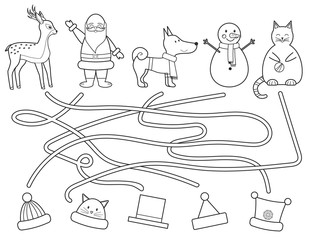 Coloring children's Christmas maze.  Help find winter hat. Educational game. Vector illustration. Line art style.