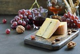Blue cheese with grapes, nuts and honey. Appetizers table concept for mediterranean lunch oder dinner.Antipasti - 180900226
