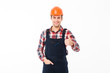 Portrait of a smiling young male builder