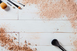 free powder and crushed minerals makeup with different brushes, wallpaper - 180901431