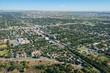 An aerial photo of an urban cityscape during summer. Calgary, Alberta, Canada.