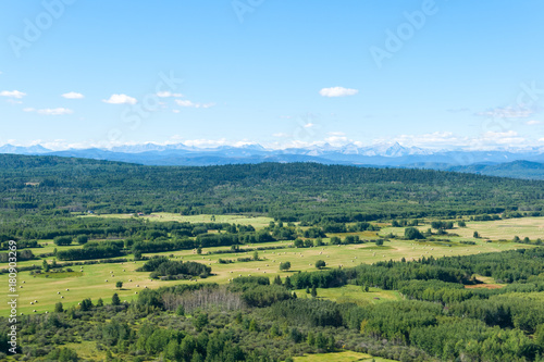 In de dag Pistache Aerial photo of forest and man made farmers fields with Rocky Mountains on the horizon.