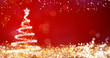 golden and silver lights with christmas tree on red background,bright decoration for merry xmas greeting message.Elegant holiday season social post digital card.Copy type space for text or logo