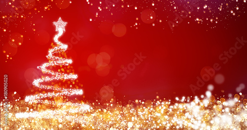 Foto op Canvas Hoogte schaal golden and silver lights with christmas tree on red background,bright decoration for merry xmas greeting message.Elegant holiday season social post digital card.Copy type space for text or logo
