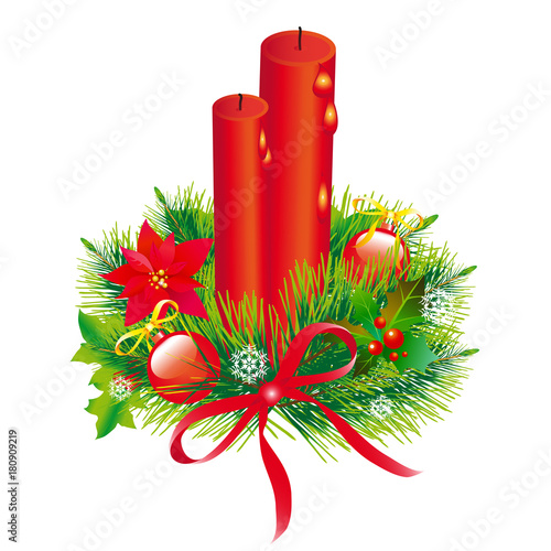 Fototapeta Christmas wreath,garland, balls,red bows, on a white