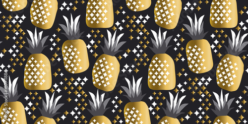 pineapple luxury gold vector illustration for background. dseamless pattern on black color